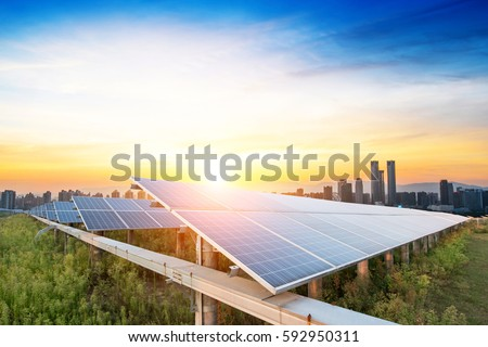 solar panels with the sunny sky. Blue solar panels. background of photovoltaic modules for renewable energy. #592950311