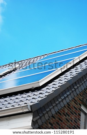 Solar photovoltaic panel on the rooftop