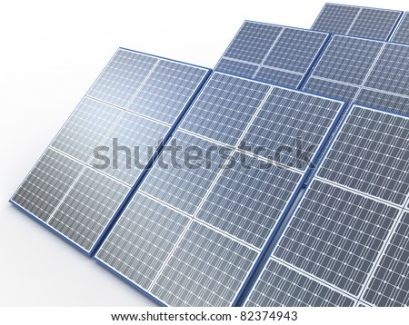 Solar plant. Renewable energy concept on white