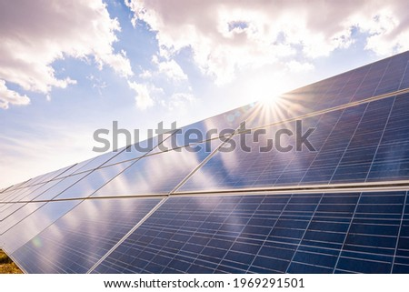 Solar plant(solar cell) with the summer season, hot climate causes increased power production, Alternative energy to conserve the world's energy, Photovoltaic module idea for clean energy production. Stockfoto ©