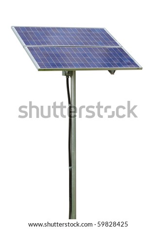 Solar power panel producing electricity isolated on white background