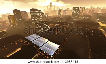 Solar power panels in city - stock photo