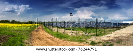 solar power plant in landscape