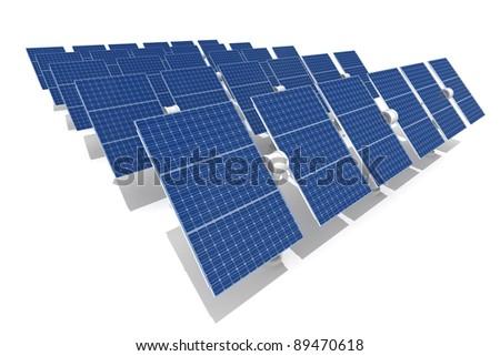 Solar power plant isolated on white background - stock photo