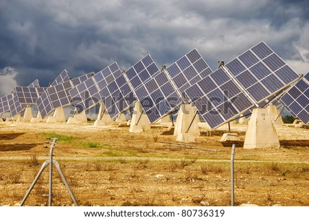 Solar power plant, modern energy in province, Huelva, Andalusia