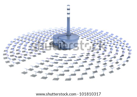 solar power plant on a white background