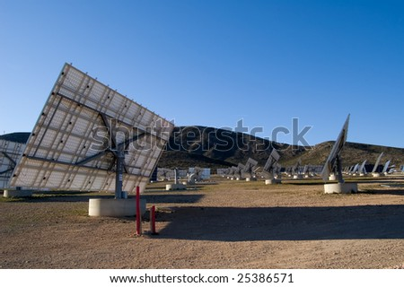 Solar power plant - Power station in Spain, back view detail