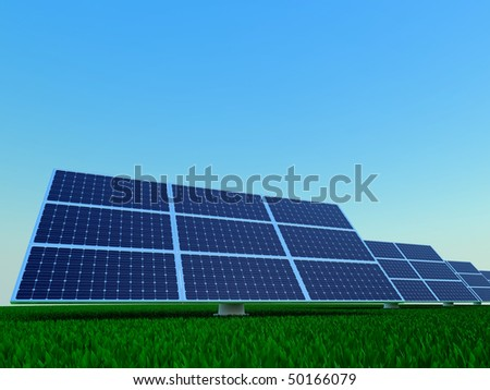 Solar power plant. Rows of photovoltaic panel.