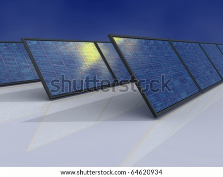 Solar power plant. Sun reflections in solar panel. Concept image for alternative energy, environment protection and saving themes.