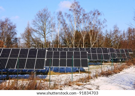 Solar Power Station in the winter Nature