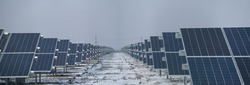 solar-power station. Panorama solar panel. Power plant using renewable solar energy. Rows array of cells or solar module or solar panels in power plant