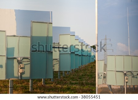 "Solar power station ""Solarturn Juelich"" in Juelich, Germany. Field of mirrors"
