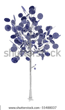 Solar power tree 3d, over white, isolated