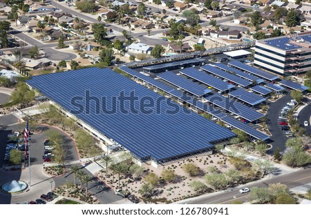 Solar powered parking structure with aerial view