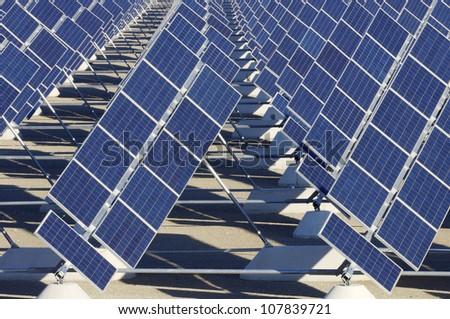 solar station in a sunny day in Zuera, Saragossa, Aragon, Spain - stock photo
