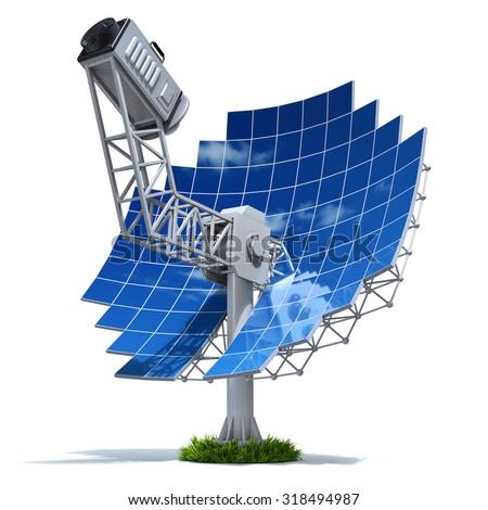 Solar stirling engine with parabolic mirror - 3D illustration