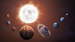 Solar system and space objects. Elements of this image furnished by NASA