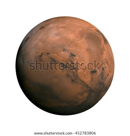 Shutterstock Solar System - Mars. Isolated planet on white background. Elements of this image furnished by NASA