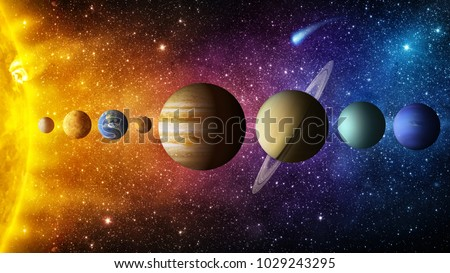 Photo of  Solar system planet, comet, sun and star. Elements of this image furnished by NASA. Sun, mercury, Venus, planet earth, Mars, Jupiter, Saturn, Uranus, Neptune.  Science and education background.