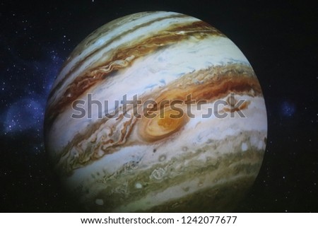 Solar system planet Jupiter on black background
