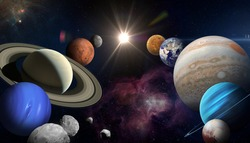 Solar system planet, sun and star. Sun, Mercury, Venus, planet Earth, Mars, Jupiter, Saturn, Uranus, Neptune. Sci-fi background. Elements of this image furnished by NASA.