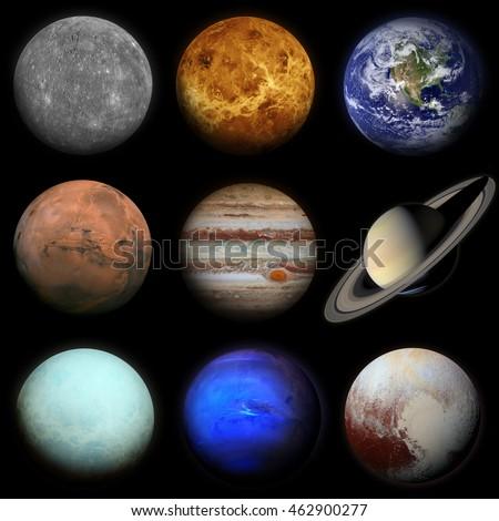 Solar system. Planets on black background. Sun, Mercury, Venus, Earth, Mars, Jupiter, Saturn, Uranus, Neptune, Pluto. Elements of this image furnished by NASA.