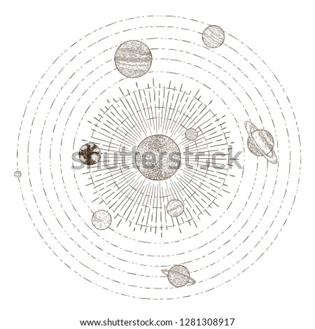 Solar system planets orbits. Hand drawn sketch planet earth orbit around sun, astrology circle universe. Astronomy satellite vintage orbital planetary galaxy vintage  illustration