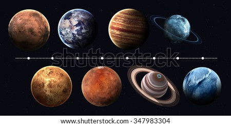 Solar system planets, pluto and sun in highest quality and resolution. Elements of this image furnished by NASA #347983304