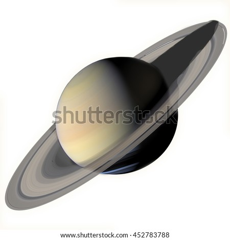 Solar System - Saturn. Isolated planet on white background. Elements of this image furnished by NASA