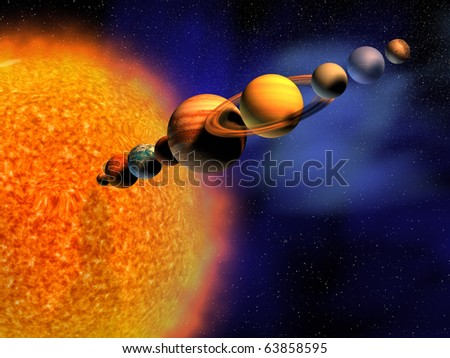Solar system - this is a 3d render illustration