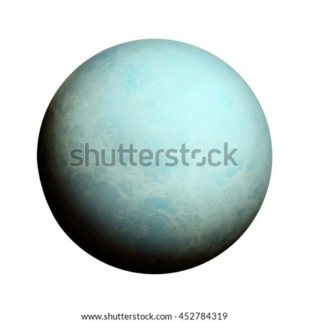 Solar System - Uranus. Isolated planet on white background. Elements of this image furnished by NASA