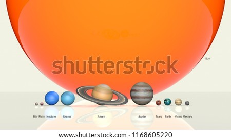 Solar system with comparison of the size of the planets, 3D rendering, 3D image