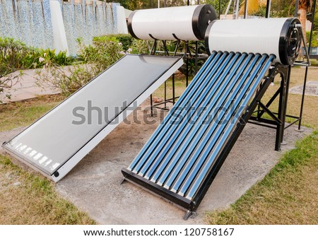 solar water heaters utilizing solar energy. Green Energy symbol
