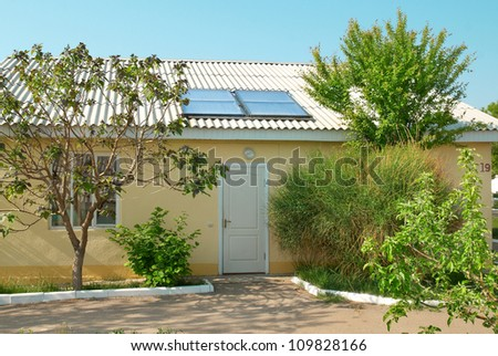 Solar water heating system on the house roof. Gelio panels.