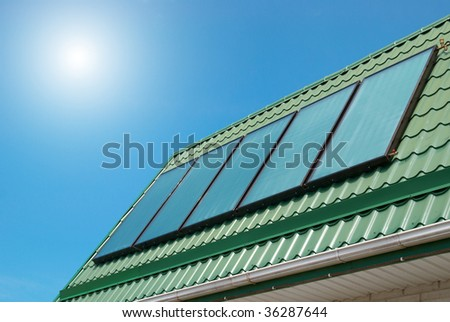 Solar water heating system on the roof.