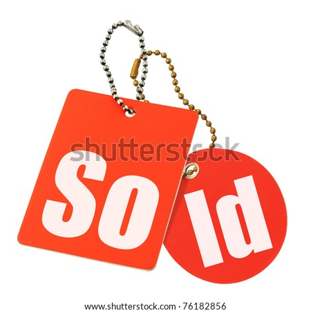 sold concept - price tags isolated on pure white background