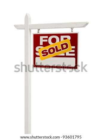 Sold For Sale Real Estate Sign Isolated on a White Background - Facing Right. - stock photo