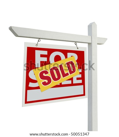 Sold For Sale Real Estate Sign Isolated on a White Background with Clipping Paths - Facing Left.