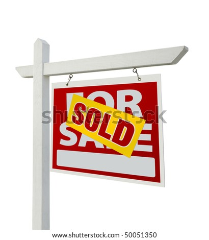 Sold For Sale Real Estate Sign Isolated on a White Background with Clipping Paths - Facing Right.