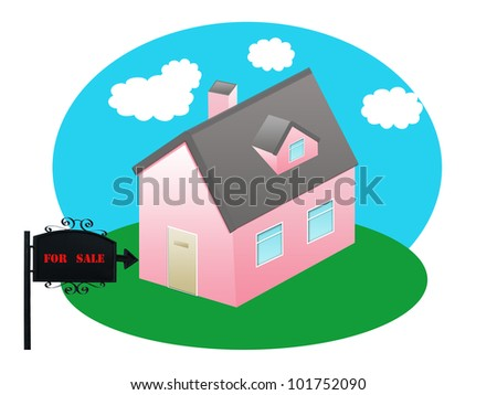 Sold home for sale sign and house as a real estate business financial concept of selling on low affordable mortgage home loans and buying your family dream home using an agent to negotiate the sale.