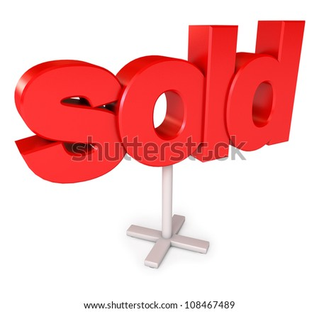 Sold sign. Icon isolated on white background. 3d render