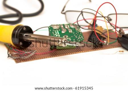 soldering iron .Desktop for work as radio components