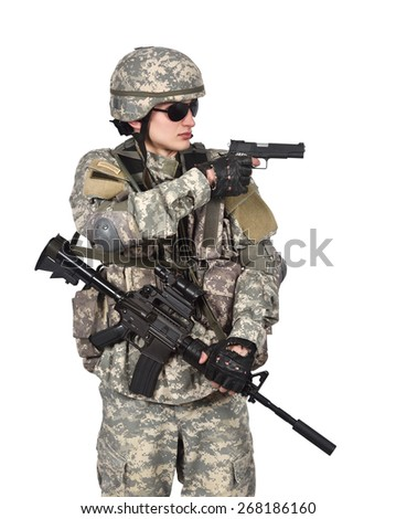 soldier aiming a gun  on white background