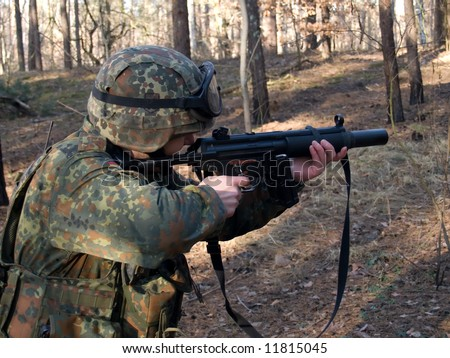 Soldier aiming the target