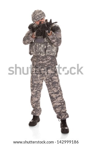 Soldier Aiming With Rifle Over White Background