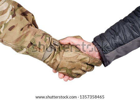 Soldier and civilian shaking hands on white background ストックフォト ©