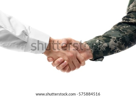 Soldier and civilian shaking hands on white background, closeup ストックフォト ©