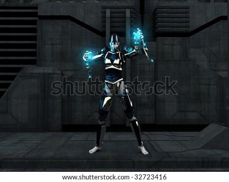 soldier cyborg - stock photo
