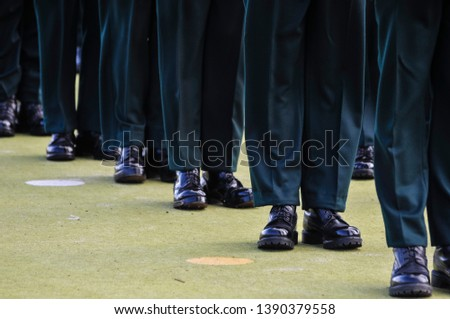 Soldier feet as they line up on parade