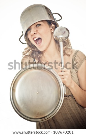 soldier girl with pot, ladle and cover